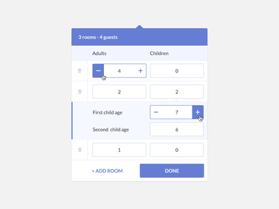 Hotel booking guest widget #2 (using Figma) add rooms guests widget figma iteration hotel