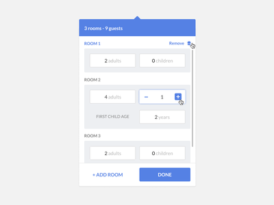 Hotel booking guest widget #3 (using Figma) widget iteration hotel guests figma rooms add