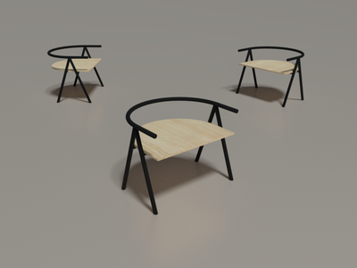 Short A1 Chair (3/10) model 3d practice chair render blender