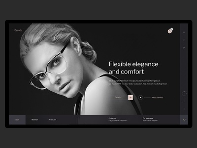 Escada webdesign website web ux ui glasses motion minimal fullscreen desktop