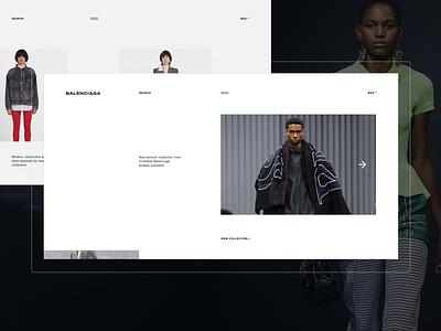 Balenciaga. Redesign concept typography mobile design desktop ecommerce motion webdesign dress fullscreen web website ux ui minimal