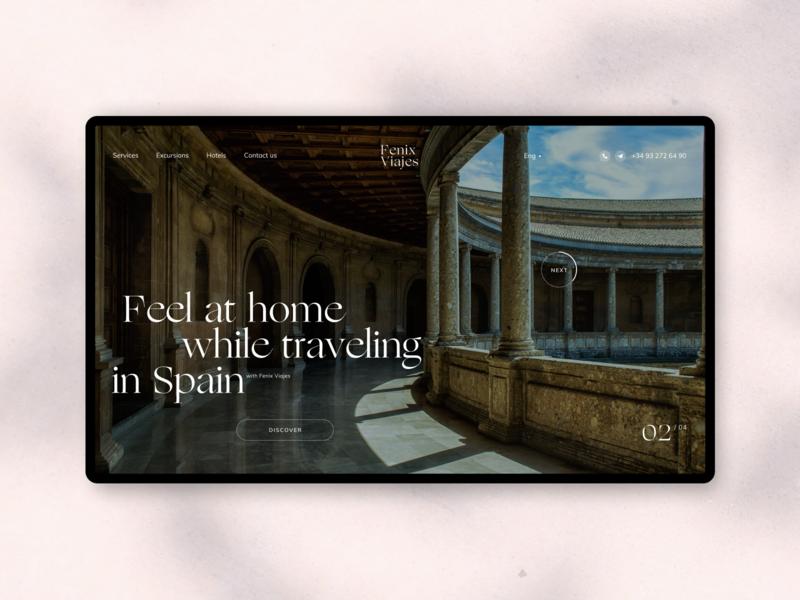 Fenix Viajes typogaphy design fullscreen desktop website web minimal ux ui