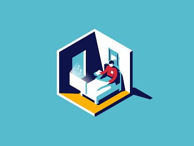 Iso Illo isometric illustration bed vector detroit design ux ui freelance