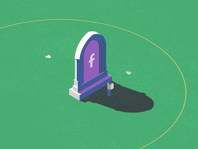 Facebook Is Dead Editorial freelance editorial illustration facebook