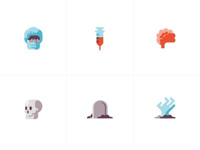 Sinister Plot illustration syringe brain skull zombie freelance detroit icons doctor