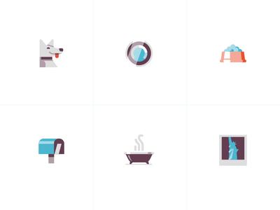 Domestic Style state of liberty bathtub mailbox thermostat dog iconography detroit freelance illustration ui icons