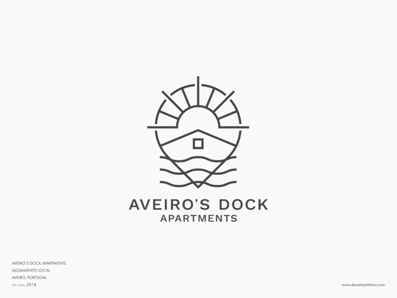Aveiro's Dock Apartments // logofolio logo design logofolio logotypes logotype roof map logo pin maps mapping map sun dock sea elvas badge logo badge minimalist graphic designer freelancer aveiro