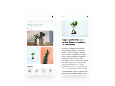 Plants website - mobile version webflow figma uidesign ui  ux design ux design ui uxui ux grid layout grid plant bonsai ui design minimalism ui designer ui ux elvas graphic designer aveiro freelancer