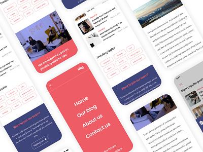 Blog Figma UI Template (for sale) grid creative market wireframes about us blog post blog design figma ui design uiux ui template blog mobile ui layout minimalist minimalism ui designer ui ux graphic designer freelancer