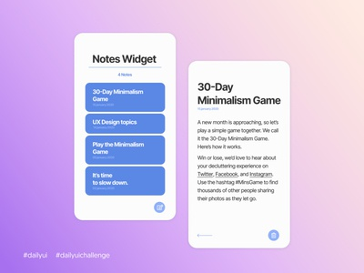 Daily UI #065 - Notes Widget