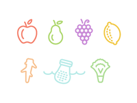 Fruits, veggies, snack Icons