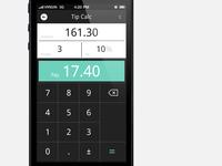 Calculator app, tip screen