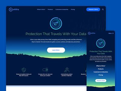 Virtru - Website Redesign 2016 blue vibrant guidelines hero minimal horizons cybersecurity privacy vector ui website