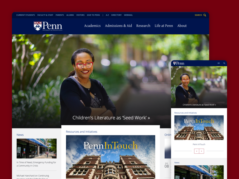 University of Pennsylvania - Website Redesign pennsylvania redesign website ui academia ivy university blue red 2014