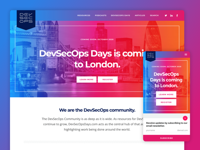 DevSecOps Days - Website Design styleguide homepage magenta blue design ui website