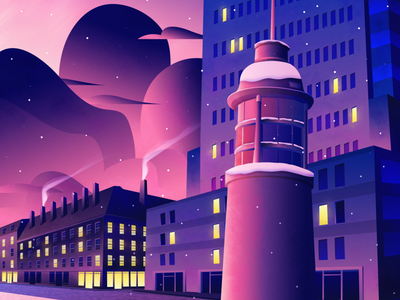 Sunset at the Titanic Memorial light sun pink sunset clouds atmospheric urban nyc new york lighthouse advertising advertising illustration vector city architecture magicmuir design illustrator cody muir illustration