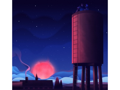 Golden Hour from the Water Tower clouds city vector architecture magicmuir illustrator design cody muir illustration