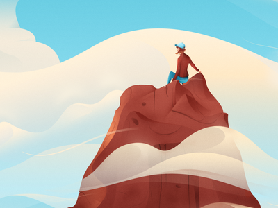 My Wife On a Rock landscape nature illustration minimal atmosphere atmospheric wind ocean nature clouds vector magicmuir illustrator design cody muir illustration
