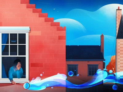Float Away surreal art gradients grain sky water bricks surreal bubbles urban clouds city architecture vector design magicmuir illustrator cody muir illustration