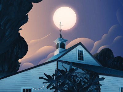 Moonlit Cupola atmospheric scene dusk night moon trees plants clouds architecture vector magicmuir illustrator cody muir illustration
