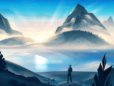 Greeting The Sun sunrise lake mountains mountain biking nature art outdoors nature illustration wilderness bicycle cycling nature vector magicmuir illustrator cody muir illustration