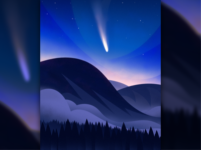 Comet NEOWISE atmosphere atmospheric trees forest mountains stars wilderness nature space comet neowise comet clouds vector design magicmuir illustrator cody muir illustration