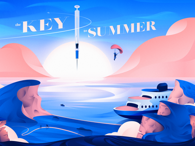 The Key to Summer nature wilderness travel poster poster graphic design illustration