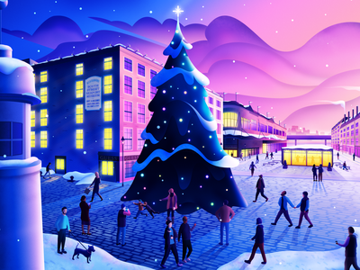NYC Seaport District Holiday Tree Lighting real estate holiday christmas winter new york manhattan nyc magicmuir illustrator illustration design commercial illustration city cody muir architecture advertising illustration advertising