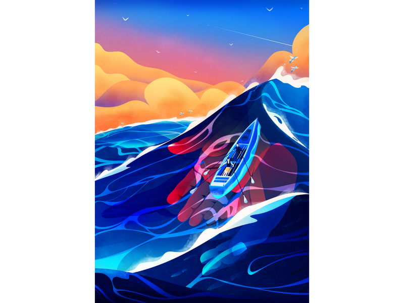 Parkylife conceptual conceptual illustration conceptual art hands waves water vector illustration magicmuir cody muir inspo inspiration vector illustrator design illustration