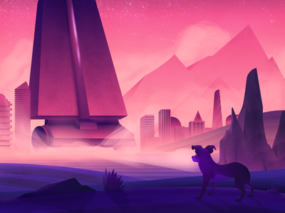 How My Dog Sees the World surreal pink humor funny pet dog city architecture illustration design cody muir