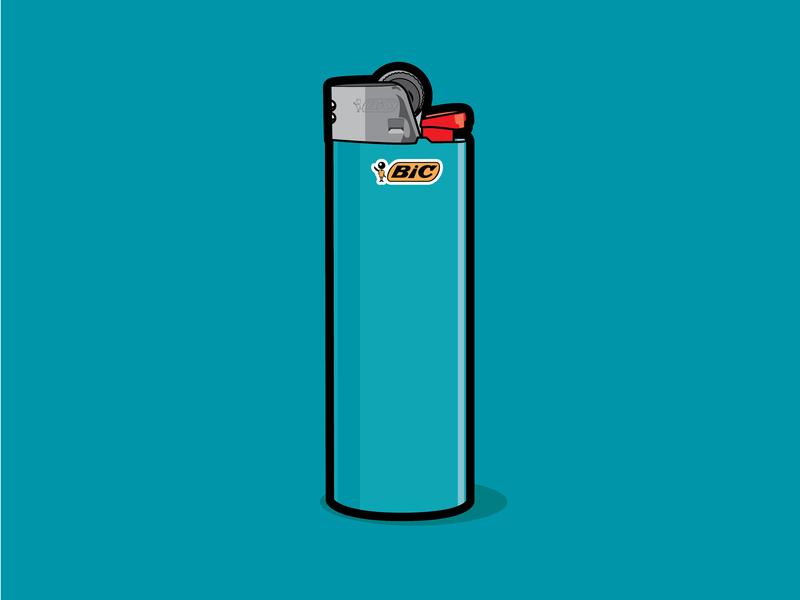 Flick my Bic design illustrator fire lighter bic flatvector vector