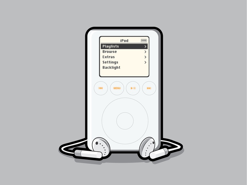 Retro ipod apple illustration design flatvector vector