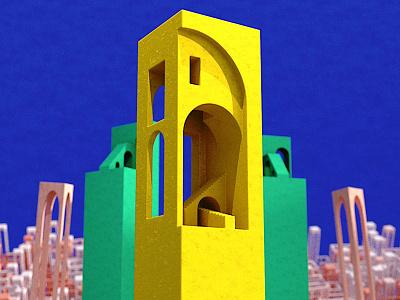 colunas 01  cena brutalismo dribbble design redshift motion graphics cinema 4d
