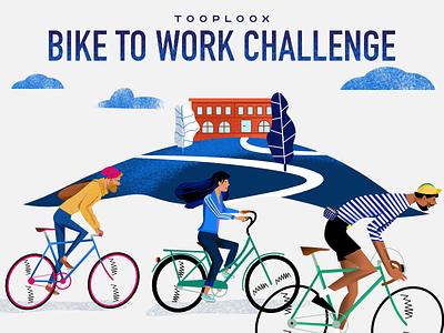 Bike To Work Challenge Poster illustration design bikes challenge poster tour de france bike cycling