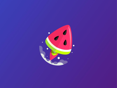 Rocket Melon space illustrator digital icon flat agency advertising rockets melons logo design