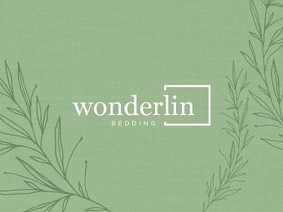 Wonderlin Bedding wonderlin texture pattern green font friendly nature linen bed design logo