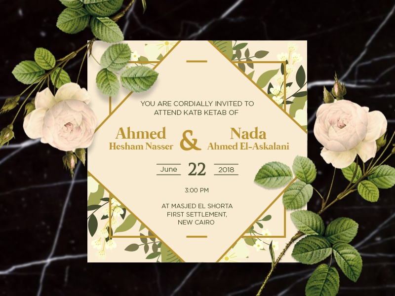 Wedding Invitation Vo1 black gold marble floral graphic design  front-end  back-end luxurious wedding invitation