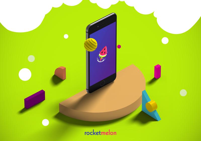 Rocket Melon icon flat neon concept creative space rocket melons watermelon graphic  design graphic digital agency logo