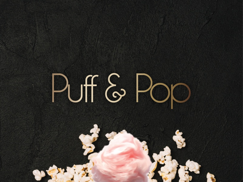 Puff & Pop Logo gradient scatter pink black identity branding summer popcorn cottoncandy pop puff logo design graphic logo