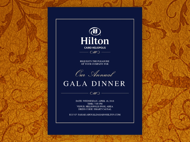 Hilton Gala Dinner Invitation layout digital card classic formal pattern luxury design luxury hotel hilton dinner gala invitation