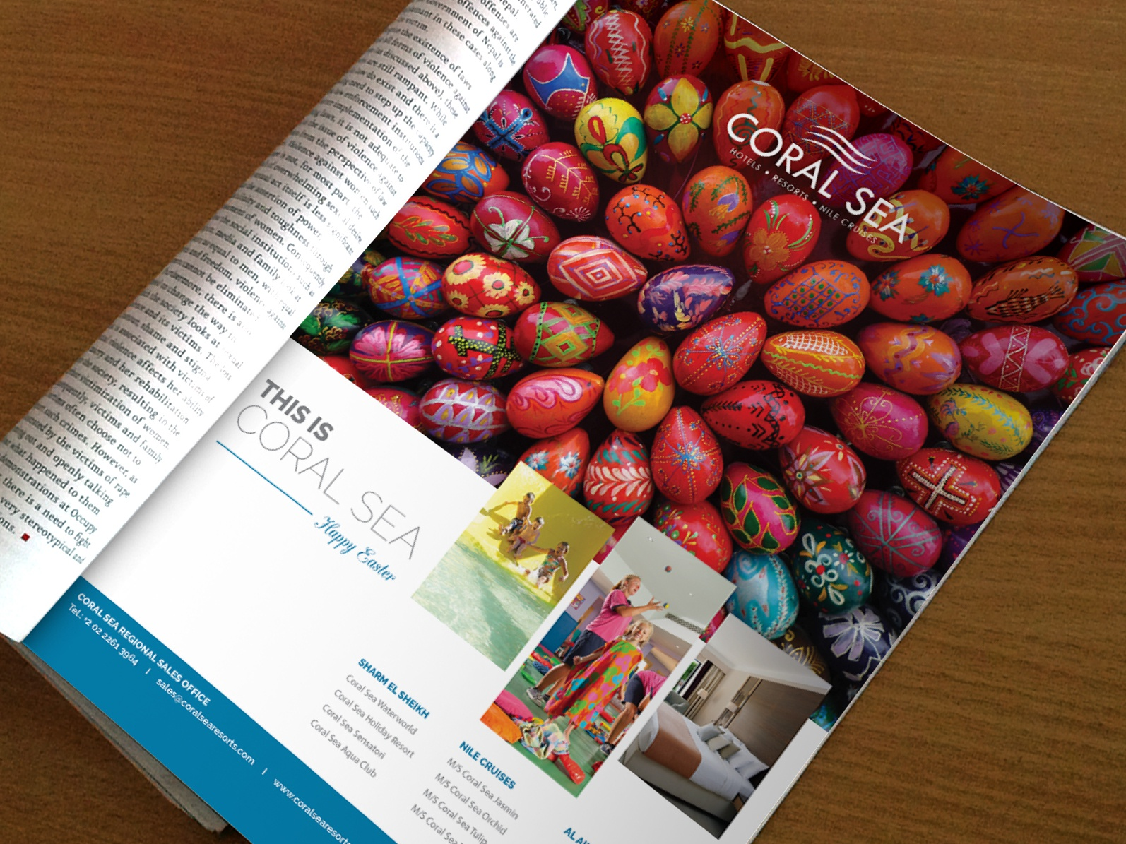 Coral Sea Magazine ad graphic concept layout happy easter colored eggs easter eggs easter advertising resort hotel sea coral monthly magazine ad