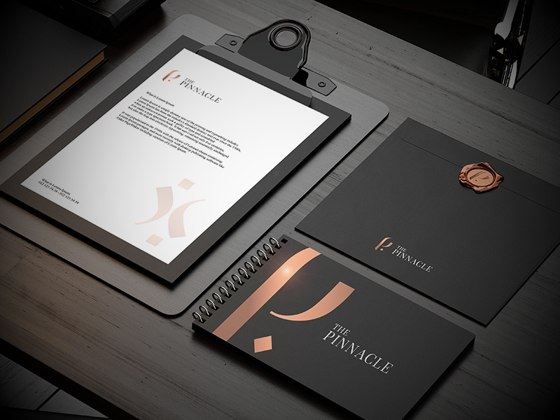 The Pinnacle Stationary luxury rosegold branding corporate construction the pinnacle stationary corporate branding brand and identity logo design graphic