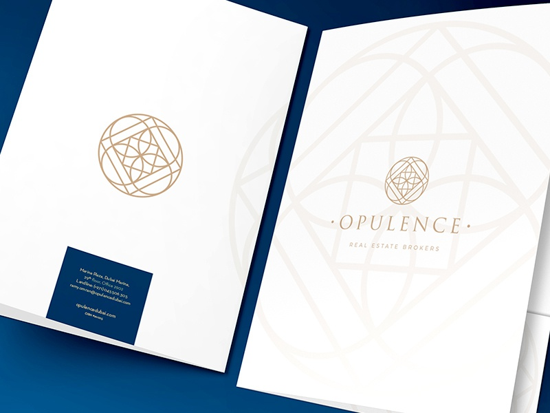 Opulence A4 folder realestate dubai navy gold white folder a4 size vector illustration concept graphic design