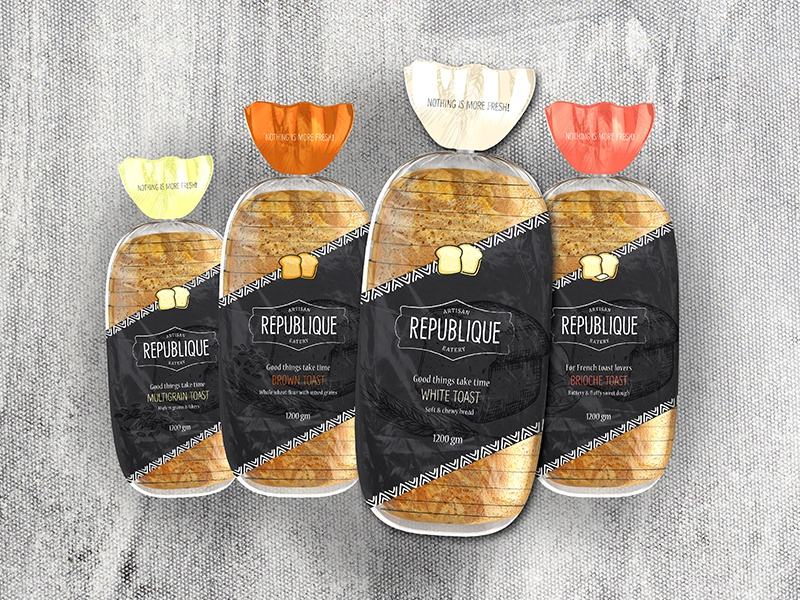 Republique Toast Packaging artwork republique color matching bakery flavors bread toast packaging concept graphic design