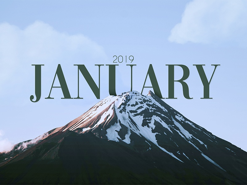 January 2019 snow mountain winter month cold filter january 2019 photograhy photoshop typography concept graphic design