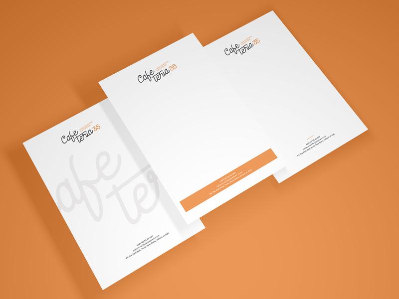 CafeTeria Letterhead cafeteria print options cafe mockup letterhead branding ci design graphic