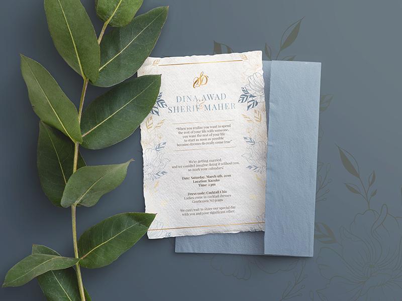 Wedding Invitation floral classic elegant card invitaion wedding vector illustration layout typography logo concept design graphic
