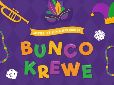 Bunco Krewe! - Mardi Gras Themed Bunco Party evite email email invitation louisiana beads krewe bourbon dice new orleans cocktail hurricane hurricane punch king cake nola fat tuesday mardi gras game night bunco