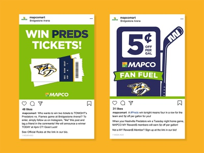 MAPCO Social Media - Preds Fan Fuel c store convenience store gas station fuel instagram post instagram digital graphic sports graphic digital social media tickets giveaway hockey stick nashville preds nashville predators preds hockey nhl