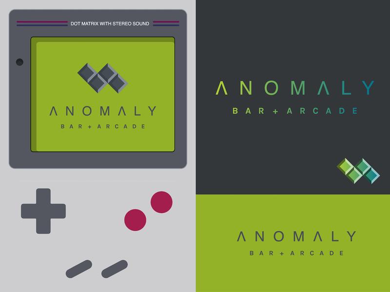 Anomaly Bar + Arcade Logo video game videogame game night barcade clean dailyui alien anomaly game gaming 1990s nintendo games 90s gameboy tetris bar arcade challenge logo